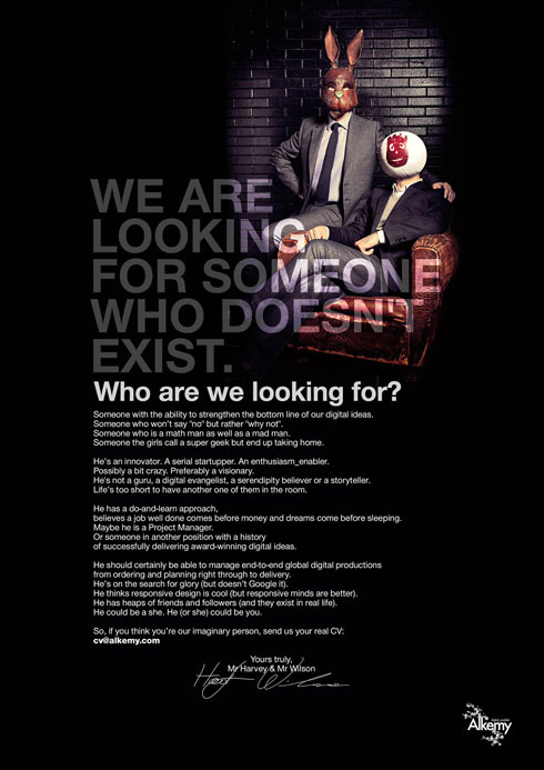 We Are Looking For Someone Who Doesn't Exist