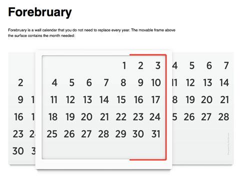 Forebruary Perpetual Calendar