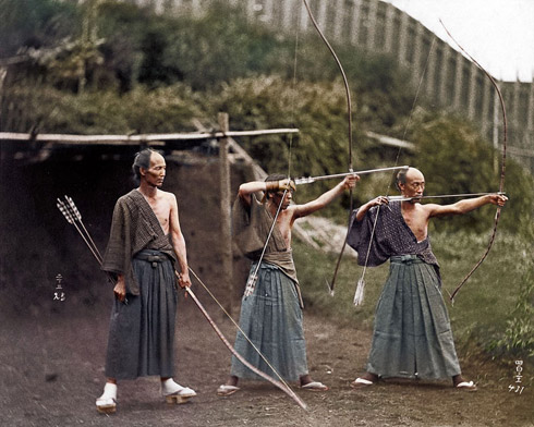 Japanese Archers circa 1860 - Colourised