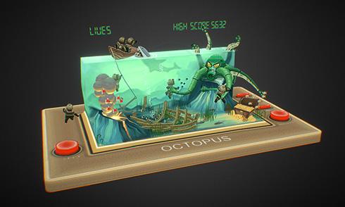 Sketchfab Octopus Retro Handheld 3D Model